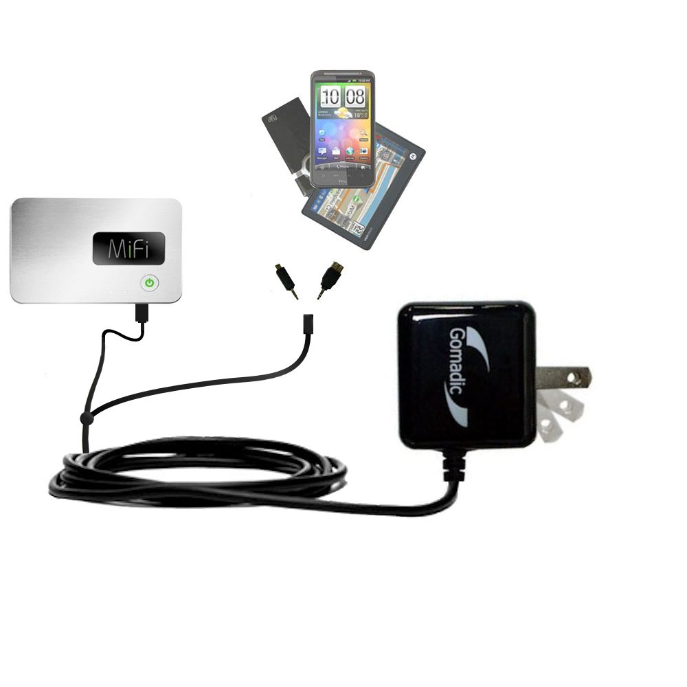 Gomadic Double Wall AC Home Charger suitable for the Walmart Internet on the Go - Charge up to 2 devices at the same time with TipExchange Technology