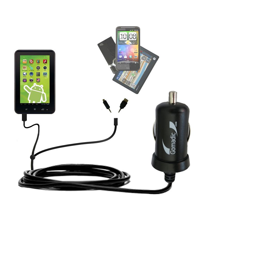 Double Port Micro Gomadic Car / Auto DC Charger suitable for the Zeki 7 Tablet TB782B - Charges up to 2 devices simultaneously with Gomadic TipExchange Technology