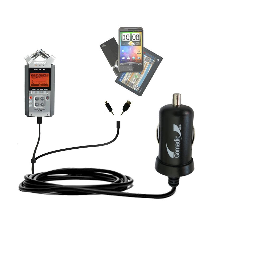 mini Double Car Charger with tips including compatible with the Zoom H4n