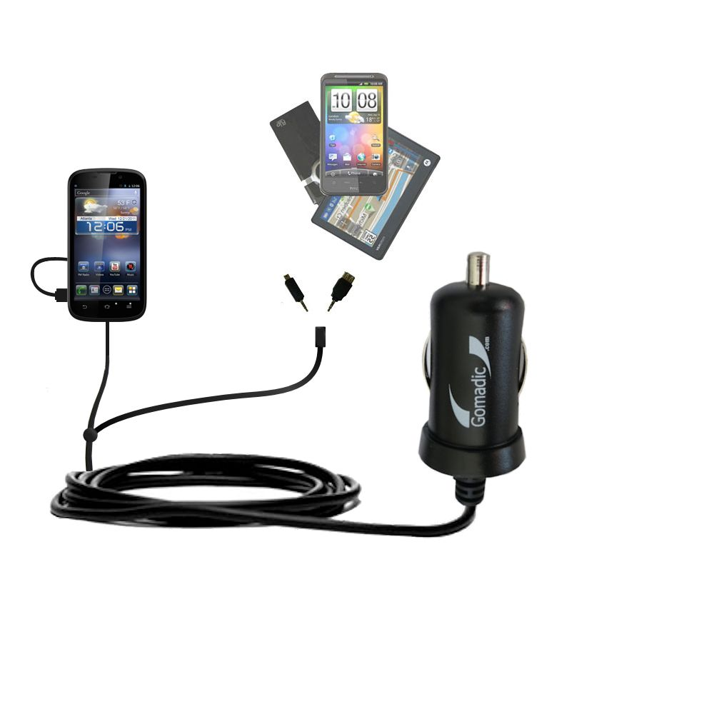 Double Port Micro Gomadic Car / Auto DC Charger suitable for the ZTE Awe - Charges up to 2 devices simultaneously with Gomadic TipExchange Technology