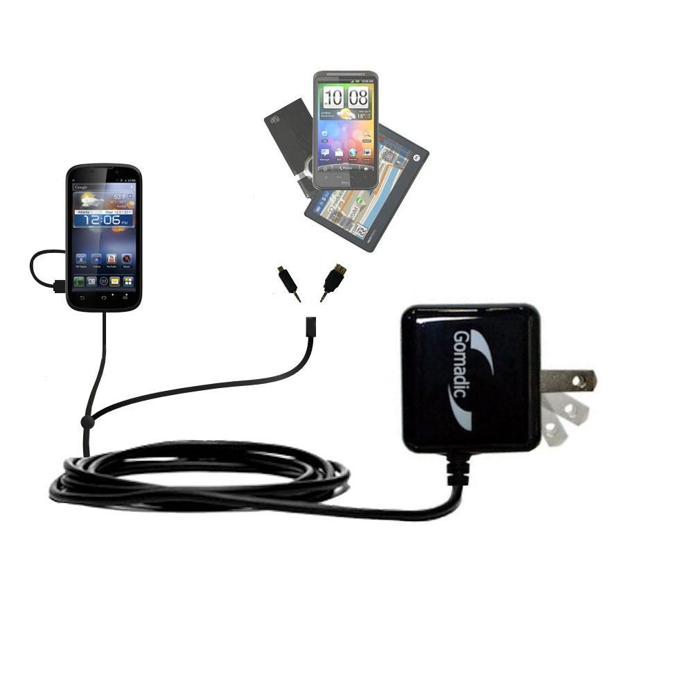 Gomadic Double Wall AC Home Charger suitable for the ZTE Awe - Charge up to 2 devices at the same time with TipExchange Technology
