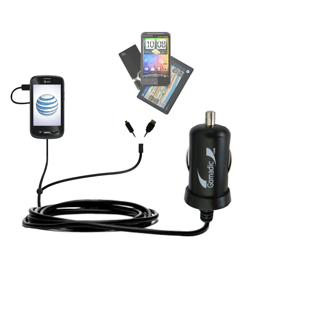 Double Port Micro Gomadic Car / Auto DC Charger suitable for the ZTE Merit Z990G - Charges up to 2 devices simultaneously with Gomadic TipExchange Technology