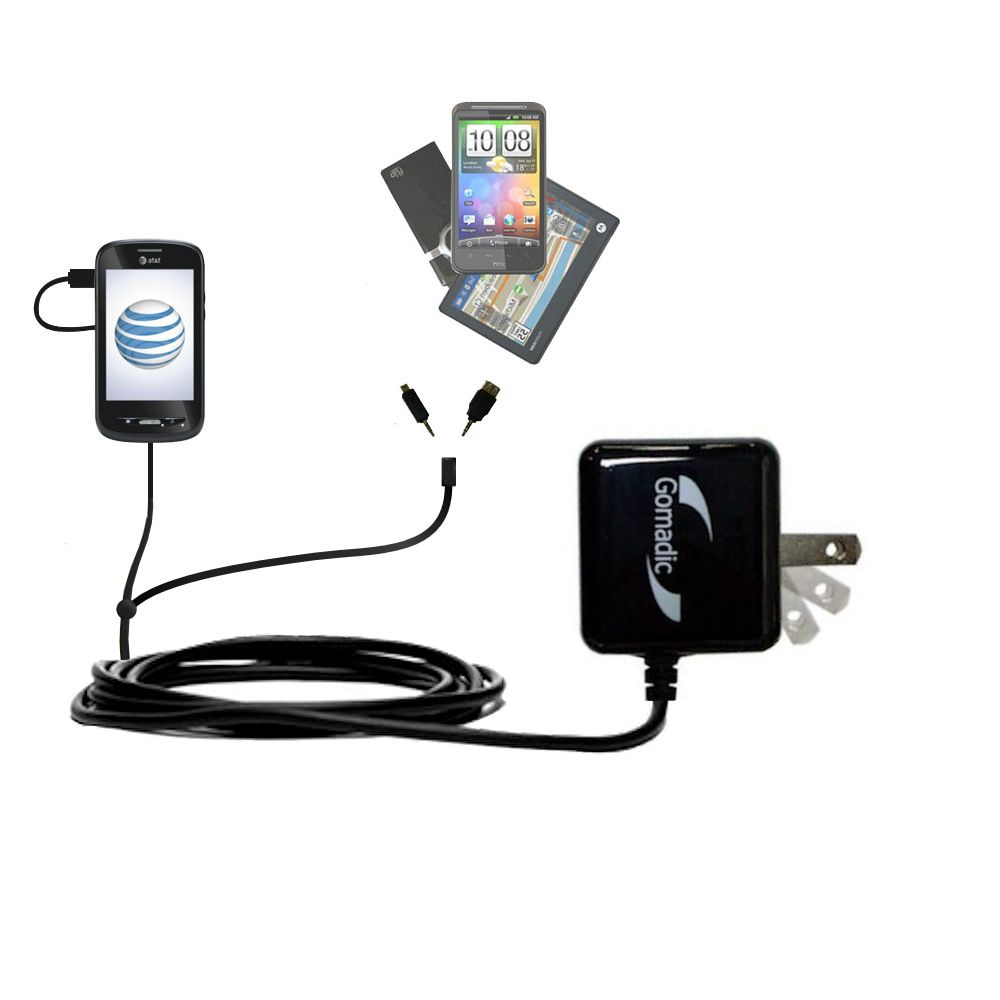 Gomadic Double Wall AC Home Charger suitable for the ZTE Merit Z990G - Charge up to 2 devices at the same time with TipExchange Technology