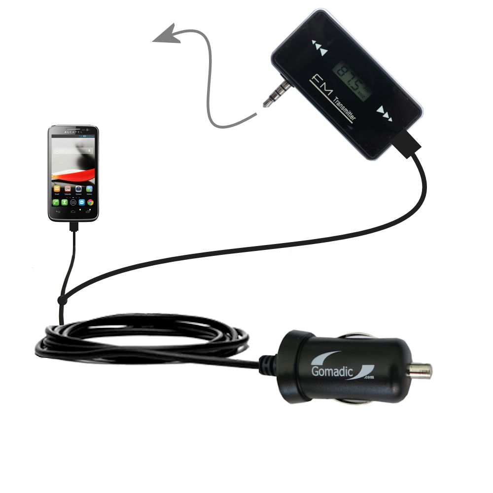 FM Transmitter Plus Car Charger compatible with the Alcatel One Touch Fierce