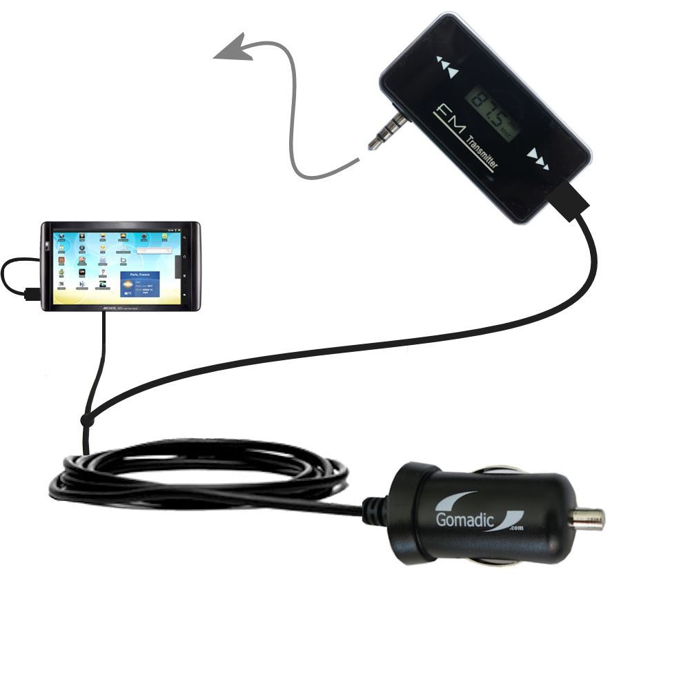 3rd Generation Powerful Audio FM Transmitter with Car Charger suitable for the Archos 101 Internet Tablet - Uses Gomadic TipExchange Technology
