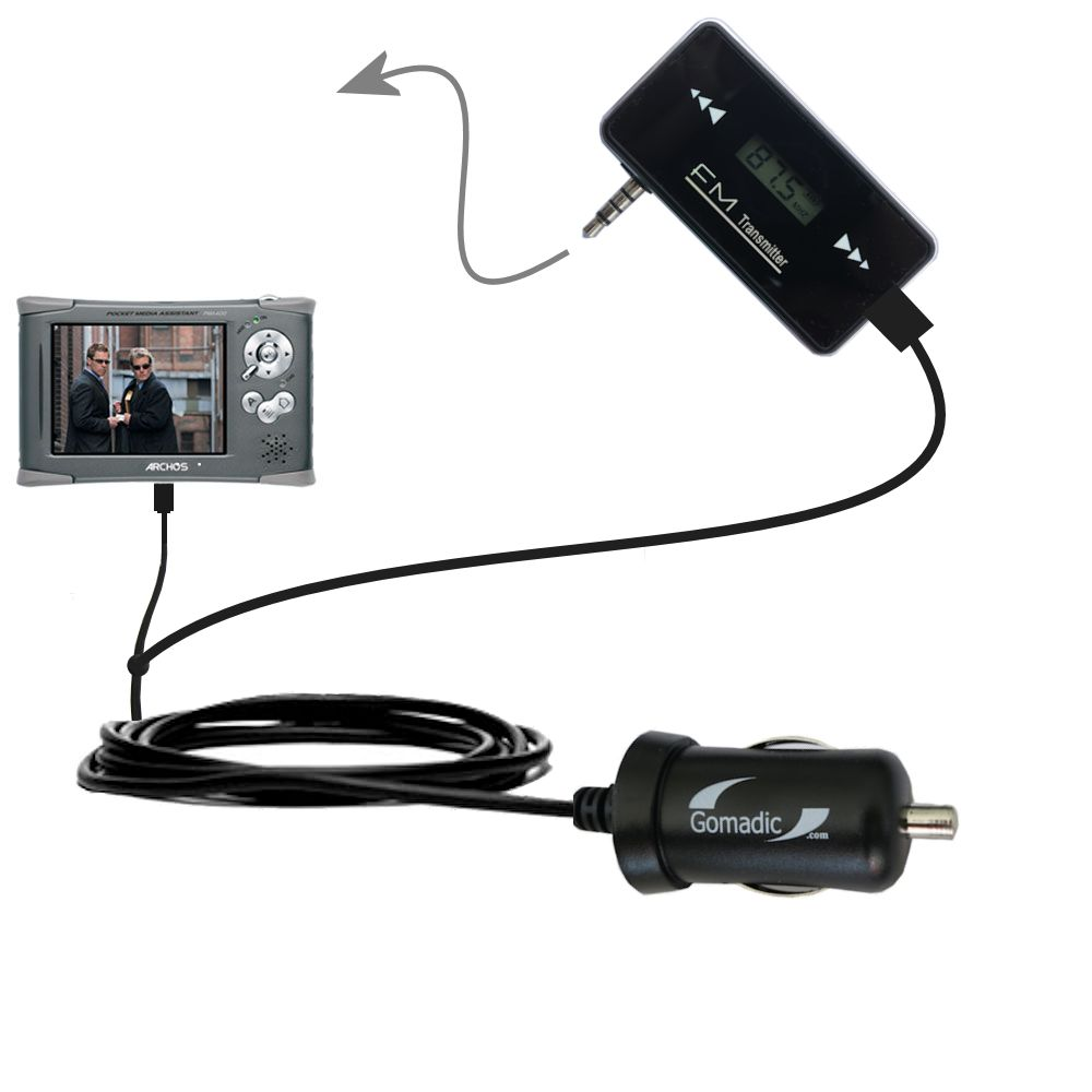3rd Generation Powerful Audio FM Transmitter with Car Charger suitable for the Archos PMA 400 - Uses Gomadic TipExchange Technology