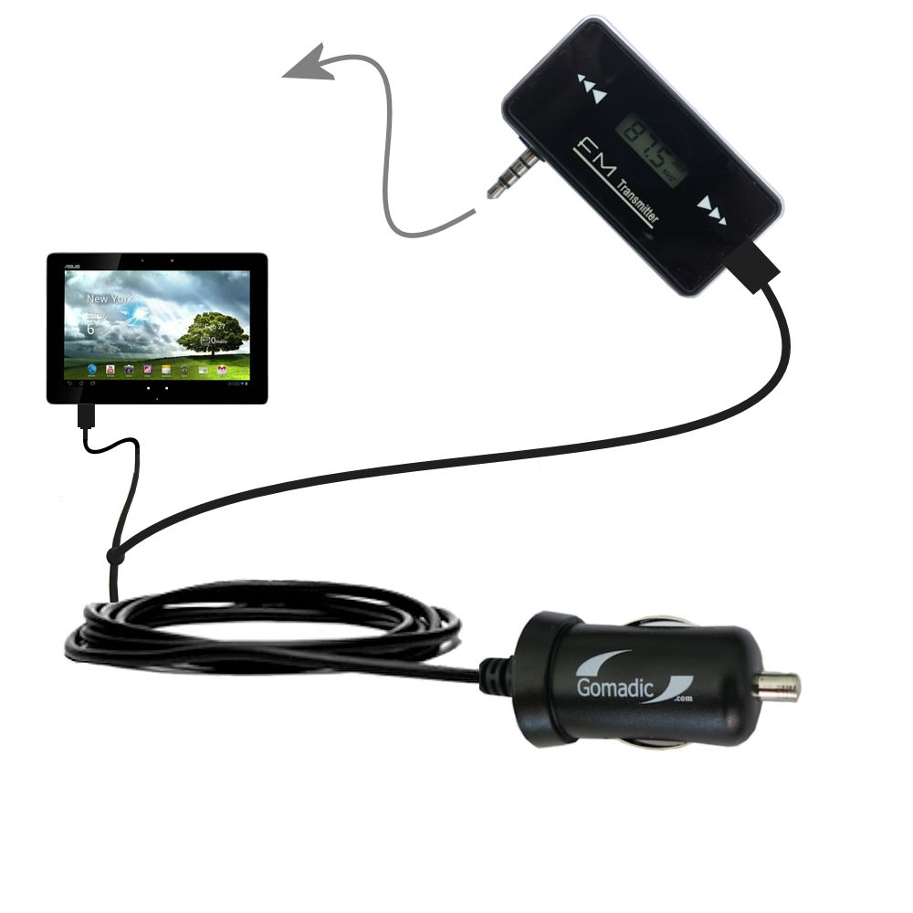 FM Transmitter Plus Car Charger compatible with the Asus MeMo Pad Smart 10