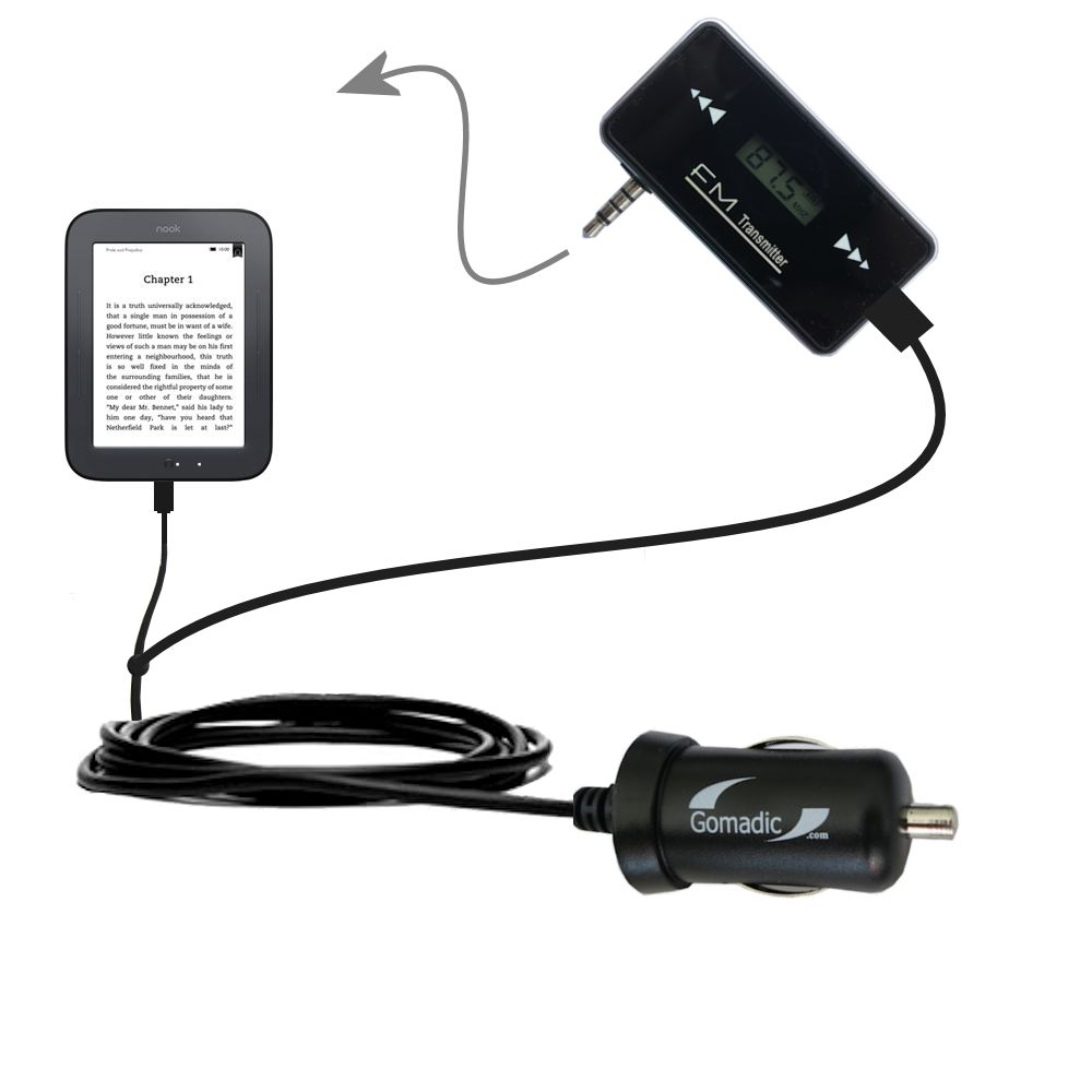3rd Generation Powerful Audio FM Transmitter with Car Charger suitable for the Barnes and Noble nook Original eBook eReader - Uses Gomadic TipExchange Technology