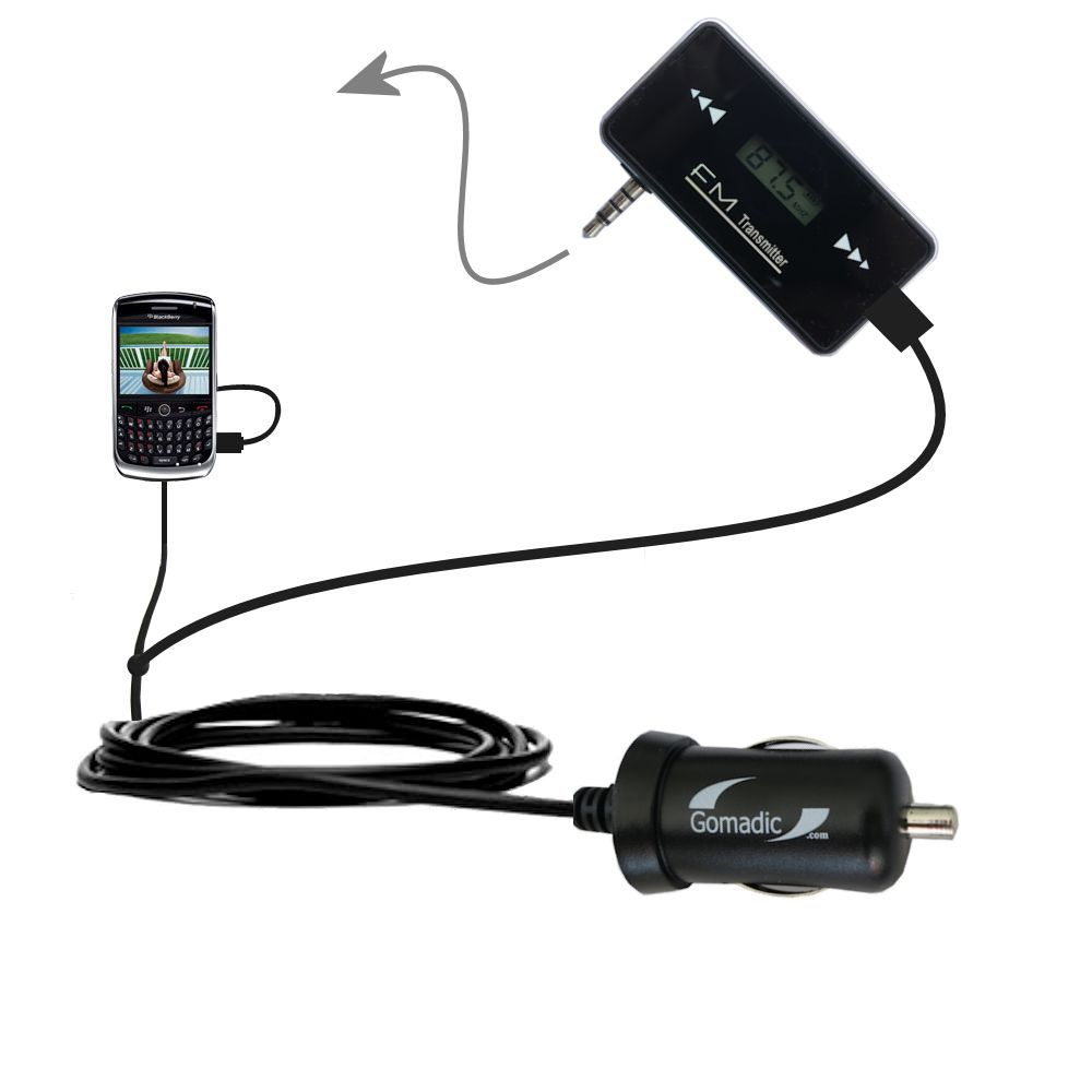 FM Transmitter Plus Car Charger compatible with the Blackberry 8900