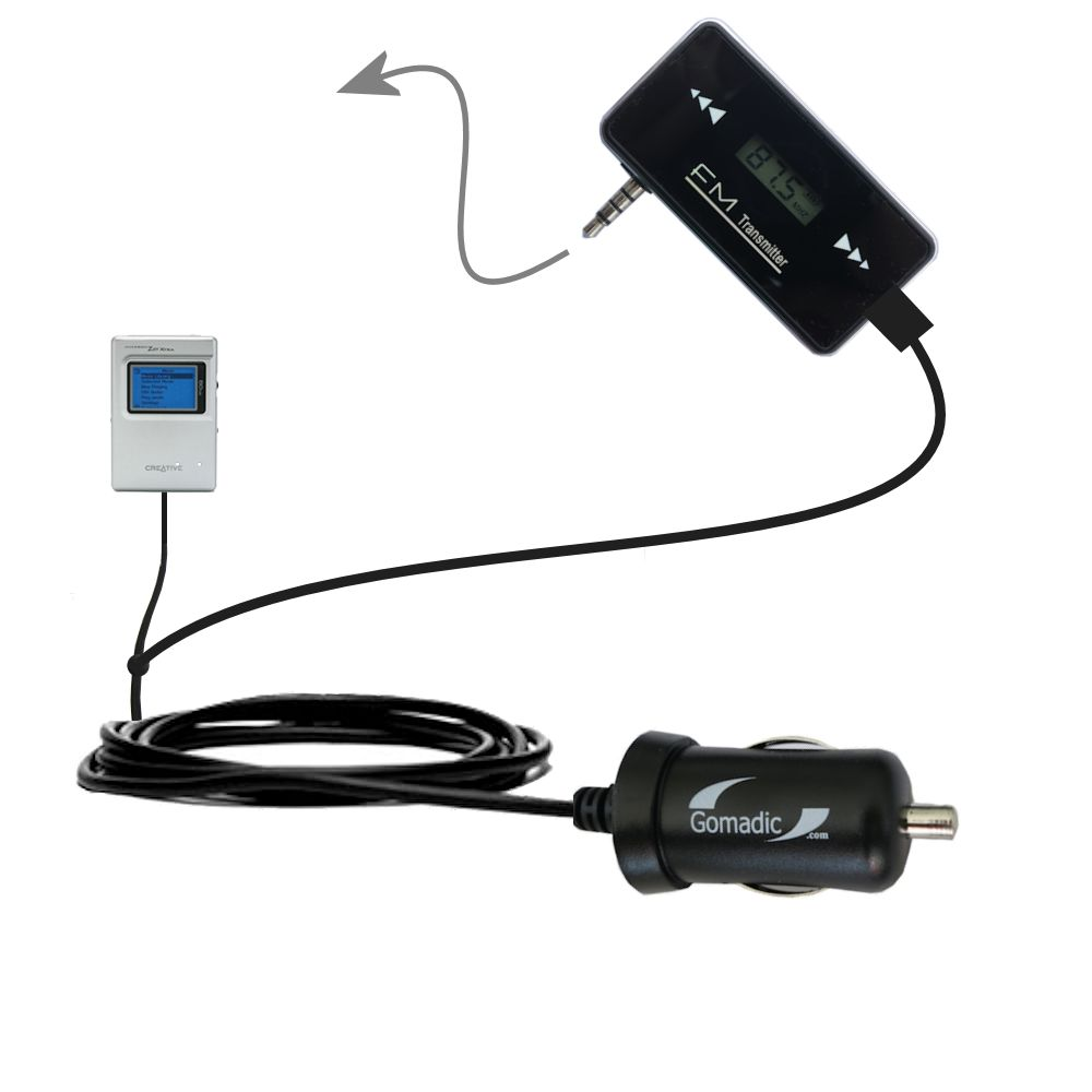 FM Transmitter Plus Car Charger compatible with the Creative Jukebox Zen NX