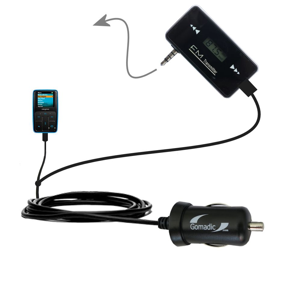 FM Transmitter Plus Car Charger compatible with the Creative Zen Micro