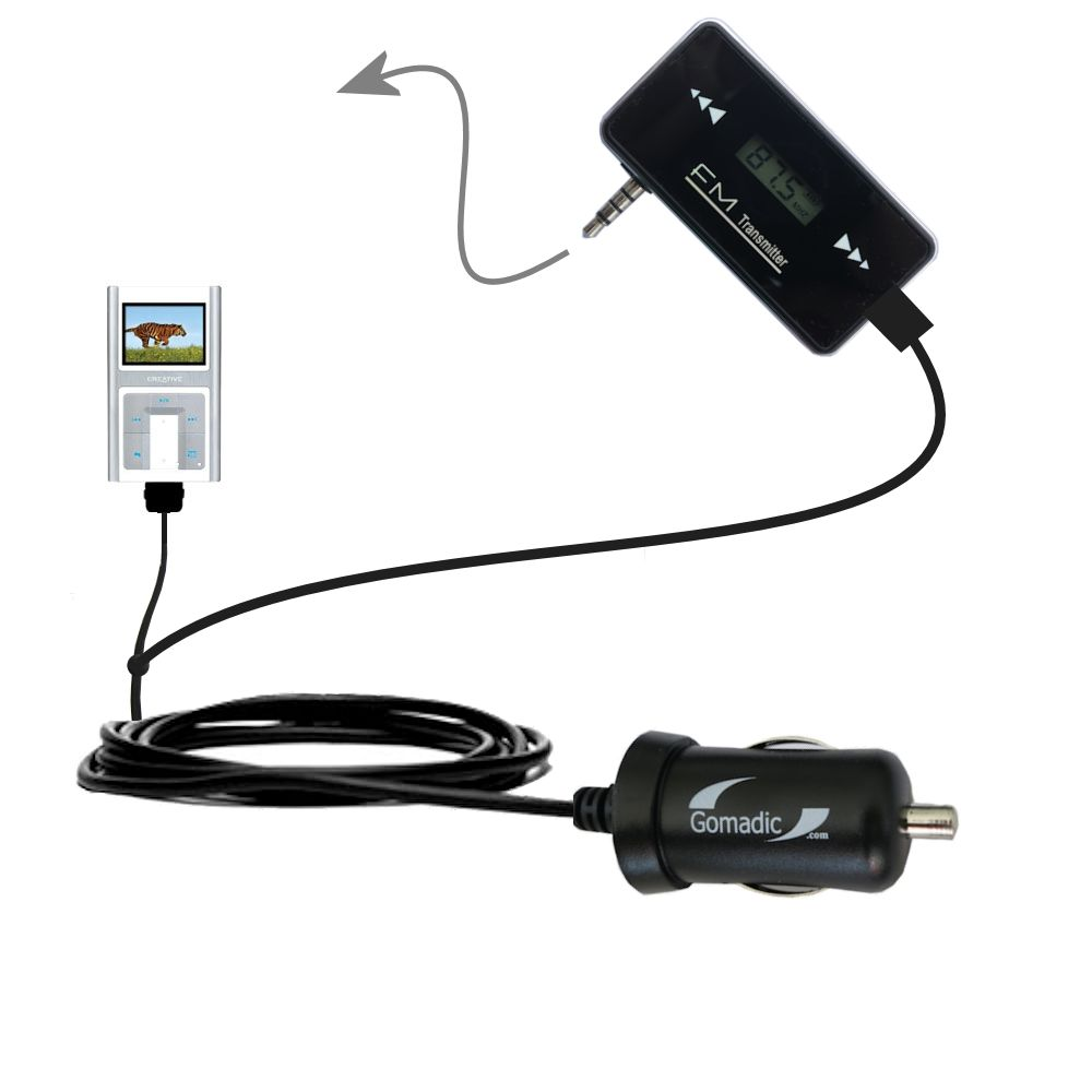 FM Transmitter Plus Car Charger compatible with the Creative Zen Sleek Photo
