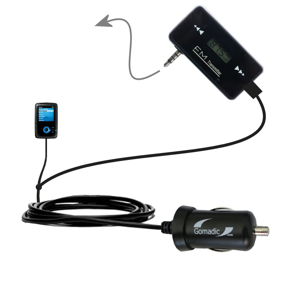 3rd Generation Powerful Audio FM Transmitter with Car Charger suitable for the Creative Zen V Plus - Uses Gomadic TipExchange Technology