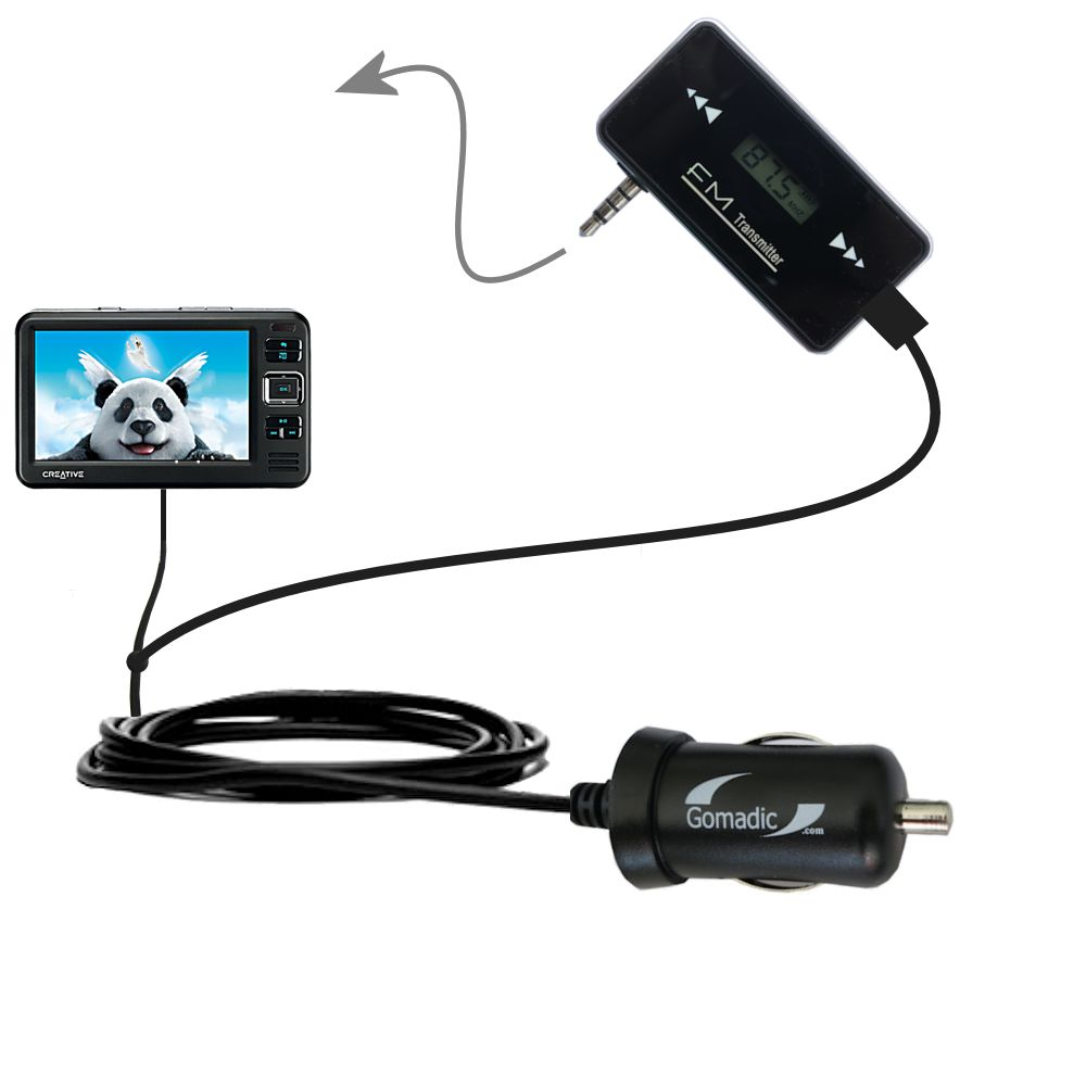 3rd Generation Powerful Audio FM Transmitter with Car Charger suitable for the Creative Zen Vision W - Uses Gomadic TipExchange Technology