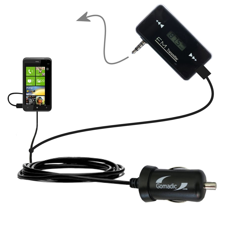 3rd Generation Powerful Audio FM Transmitter with Car Charger suitable for the HTC Titan - Uses Gomadic TipExchange Technology