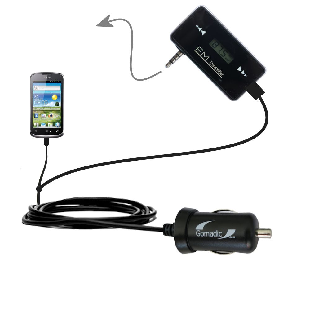 3rd Generation Powerful Audio FM Transmitter with Car Charger suitable for the Huawei U8815 - Uses Gomadic TipExchange Technology