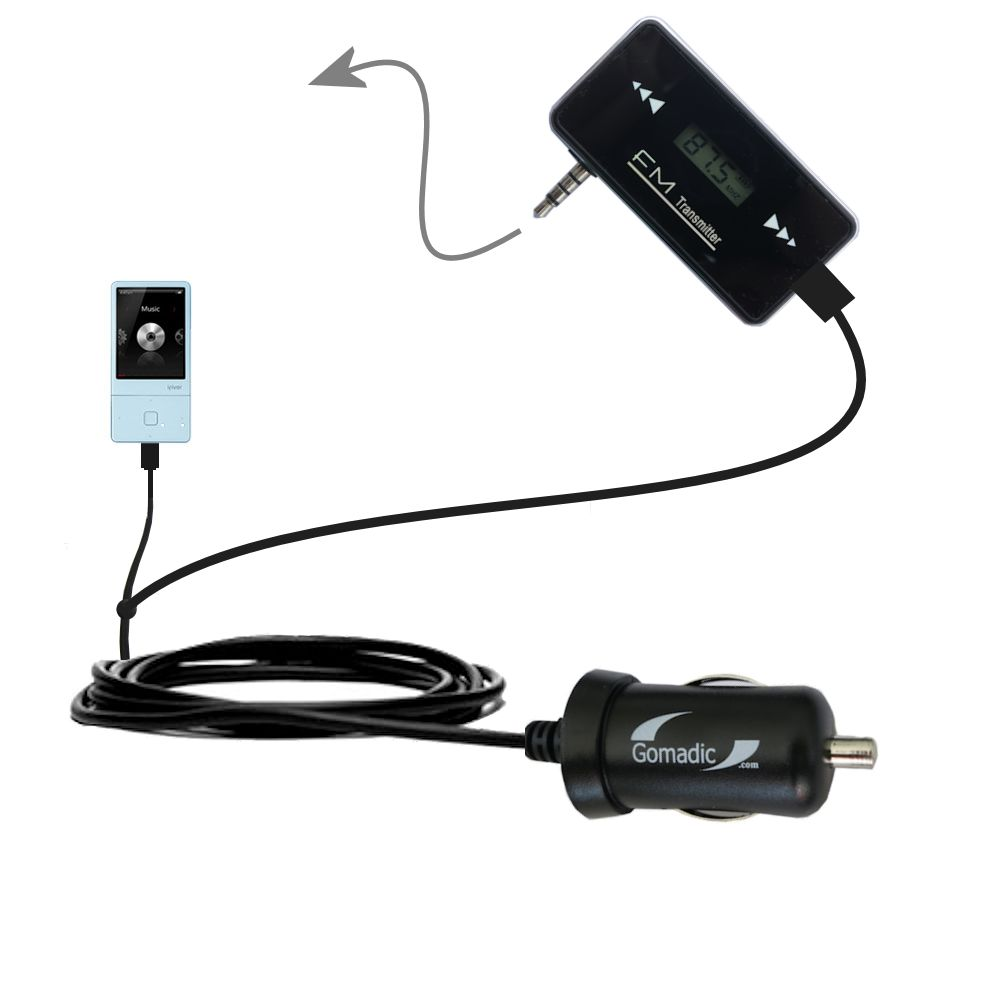 FM Transmitter Plus Car Charger compatible with the iRiver E300
