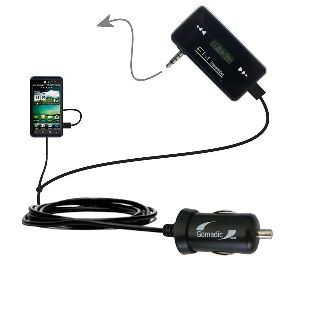3rd Generation Powerful Audio FM Transmitter with Car Charger suitable for the LG Thrill 4G - Uses Gomadic TipExchange Technology