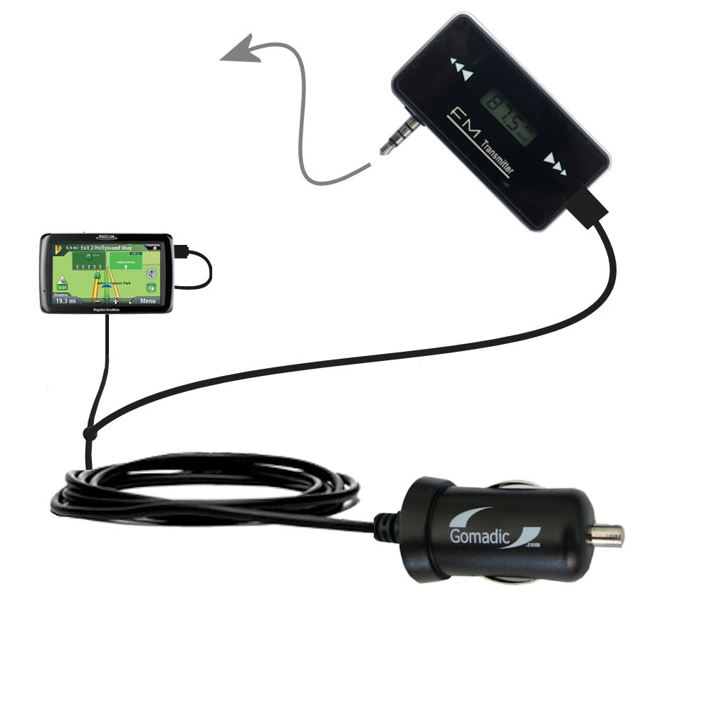 3rd Generation Powerful Audio FM Transmitter with Car Charger suitable for the Magellan Maestro 4250 - Uses Gomadic TipExchange Technology