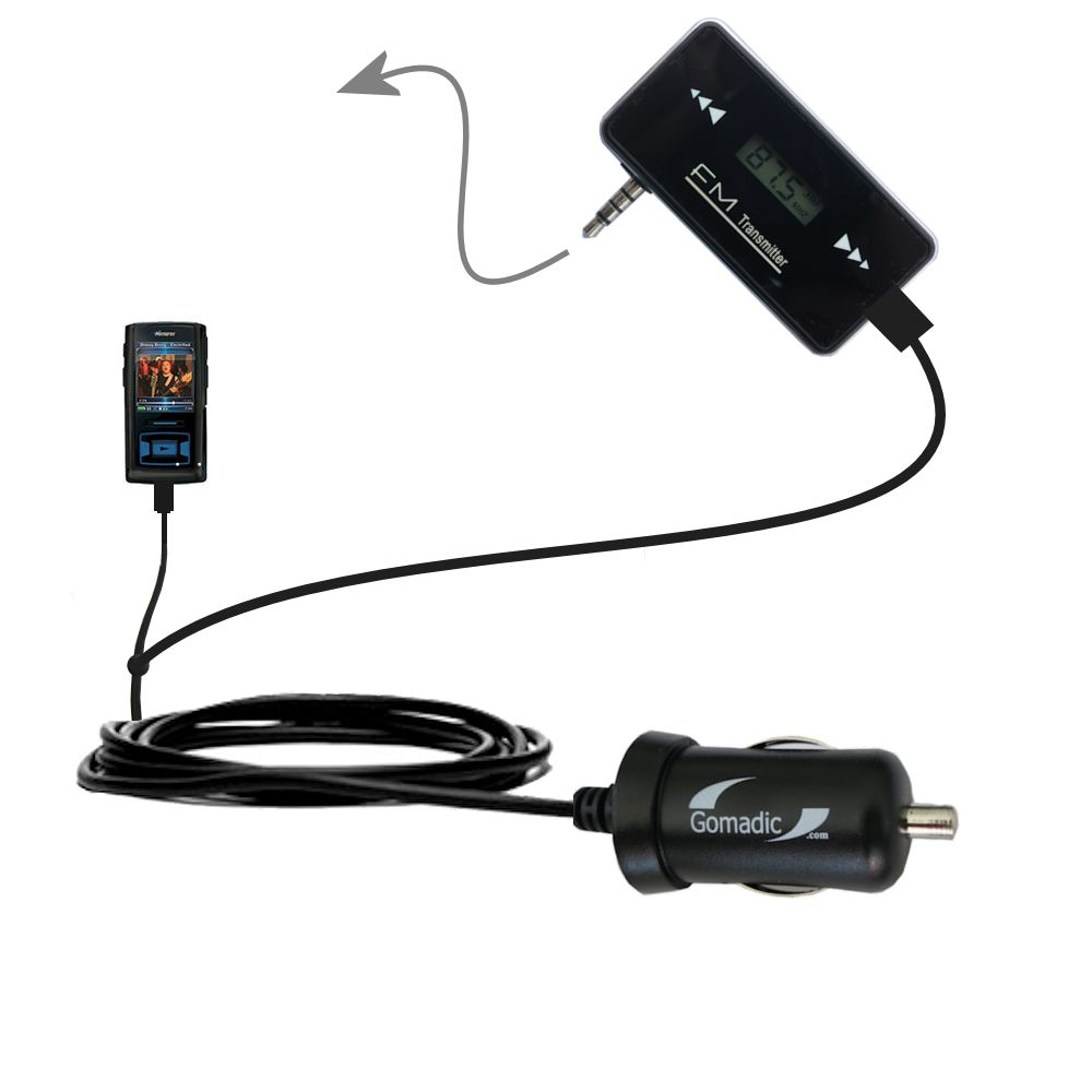 FM Transmitter Plus Car Charger compatible with the Memorex MMP8620 MMP8640