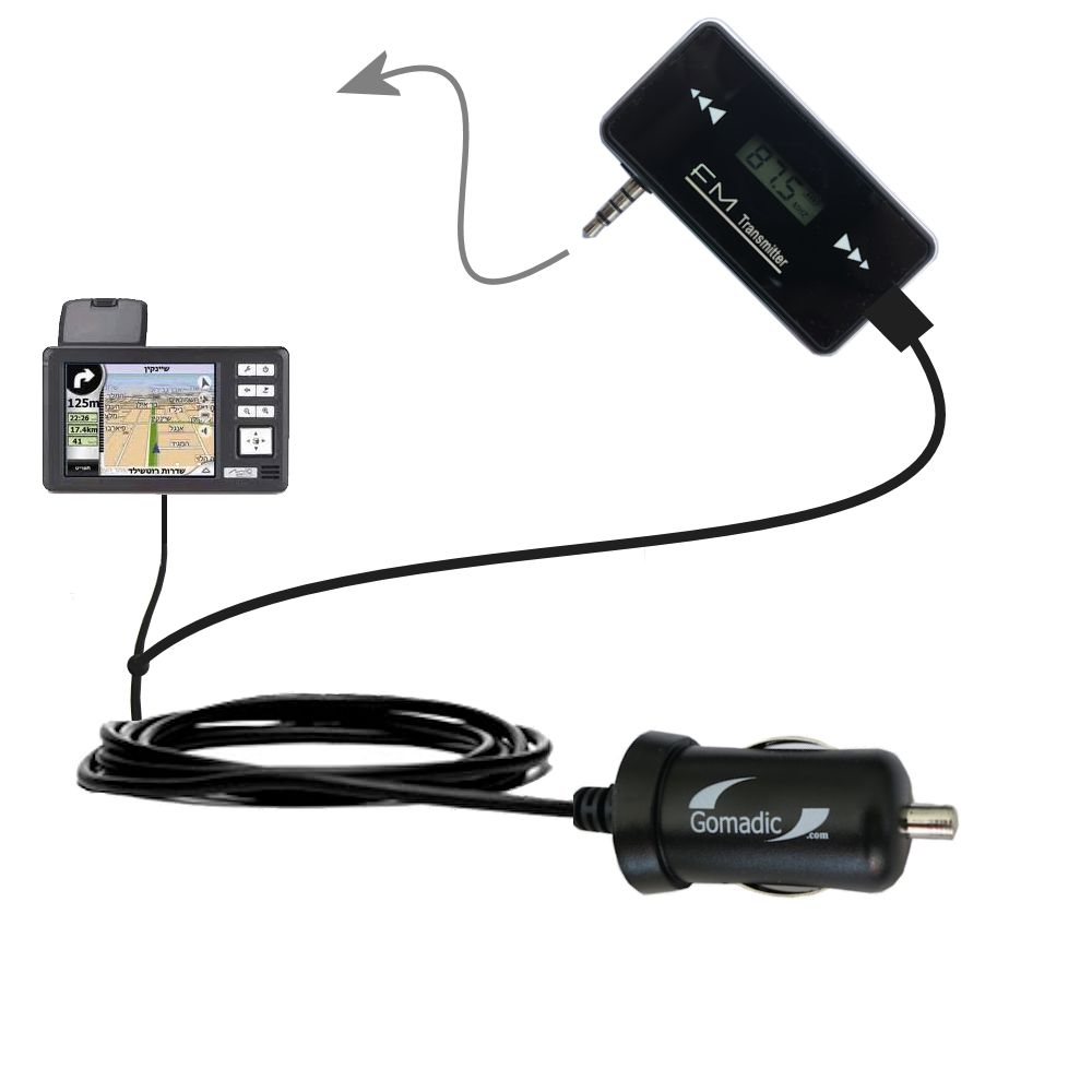 FM Transmitter Plus Car Charger compatible with the Mio 169