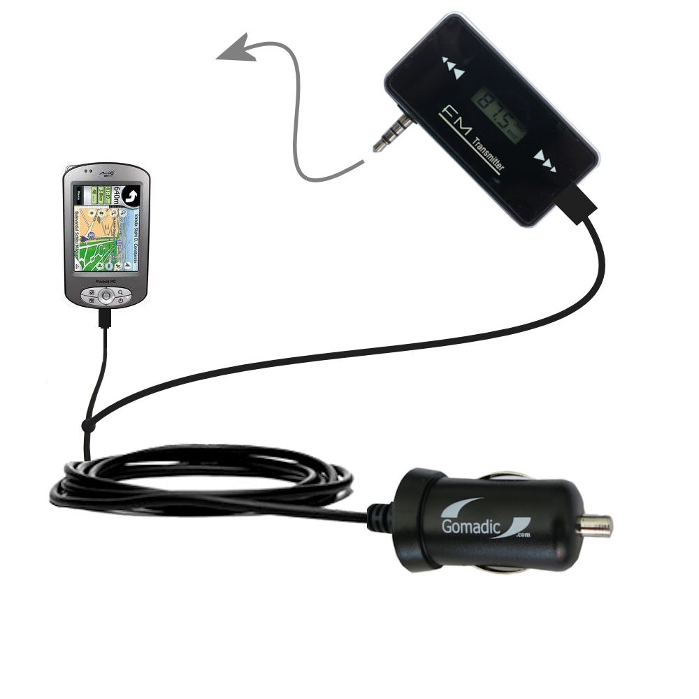 FM Transmitter Plus Car Charger compatible with the Mio P550
