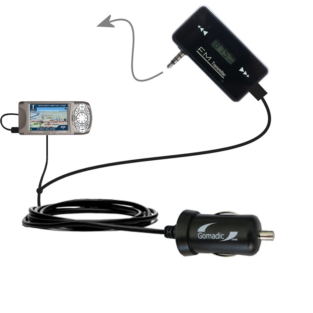 3rd Generation Powerful Audio FM Transmitter with Car Charger suitable for the Navman iCN 650 - Uses Gomadic TipExchange Technology