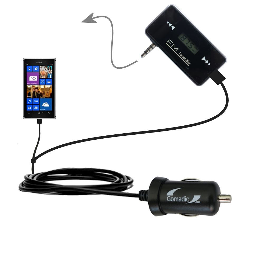 FM Transmitter Plus Car Charger compatible with the Nokia Lumia 925