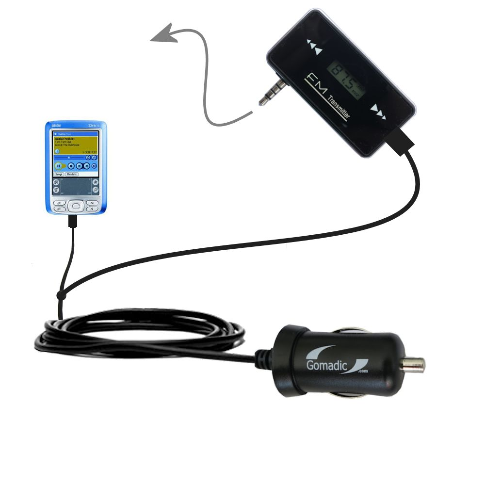 FM Transmitter Plus Car Charger compatible with the Palm palm Zire 72s