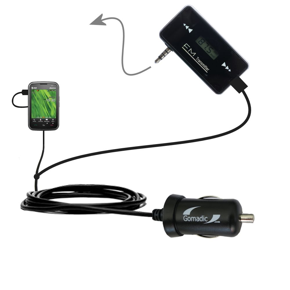FM Transmitter Plus Car Charger compatible with the Pantech Renue