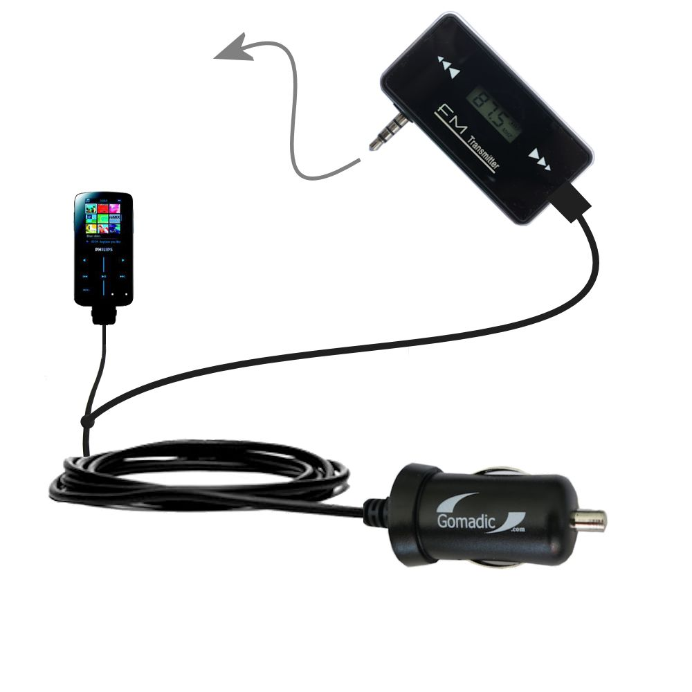 3rd Generation Powerful Audio FM Transmitter with Car Charger suitable for the Philips GoGear SA9325/00 - Uses Gomadic TipExchange Technology