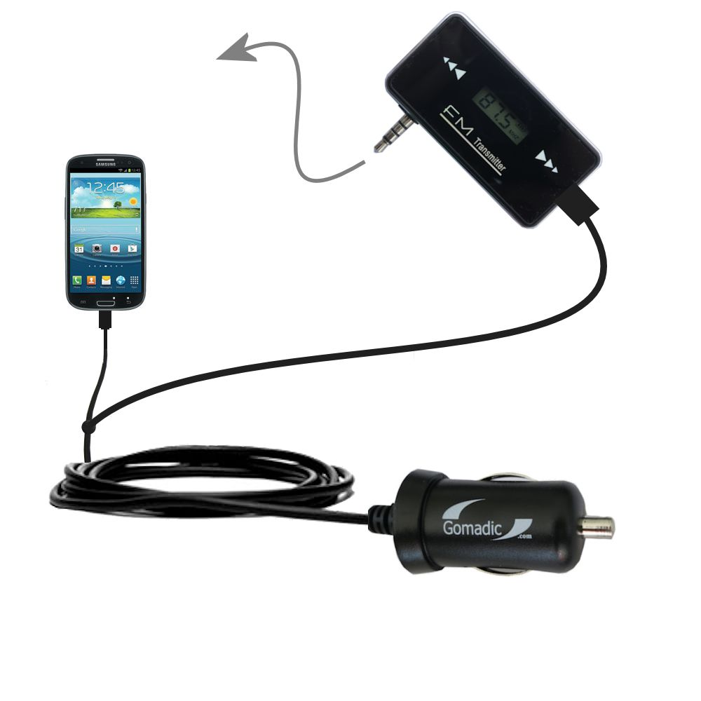 3rd Generation Powerful Audio FM Transmitter with Car Charger suitable for the Samsung Galaxy S III - Uses Gomadic TipExchange Technology