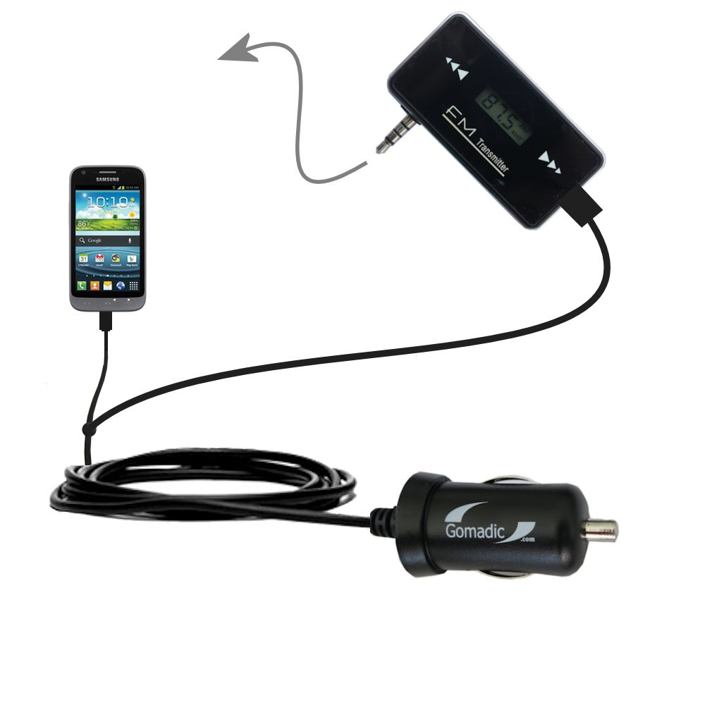 3rd Generation Powerful Audio FM Transmitter with Car Charger suitable for the Samsung Galaxy Victory - Uses Gomadic TipExchange Technology