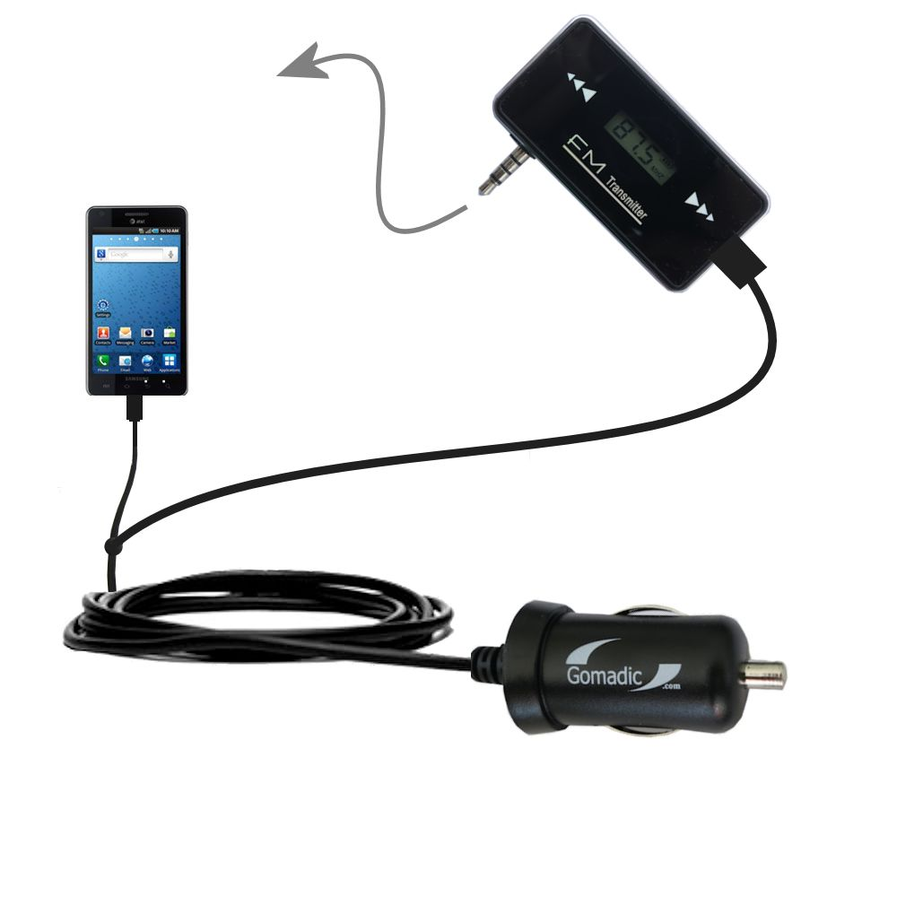 3rd Generation Powerful Audio FM Transmitter with Car Charger suitable for the Samsung Infuse 4G - Uses Gomadic TipExchange Technology