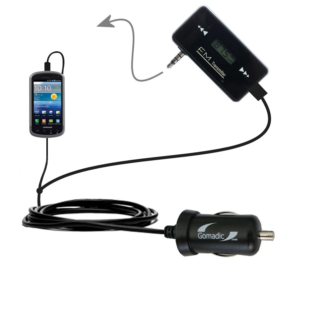 3rd Generation Powerful Audio FM Transmitter with Car Charger suitable for the Samsung Stratosphere - Uses Gomadic TipExchange Technology