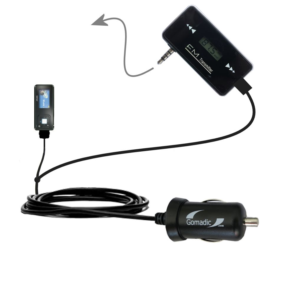 FM Transmitter Plus Car Charger compatible with the Sandisk Sansa c240