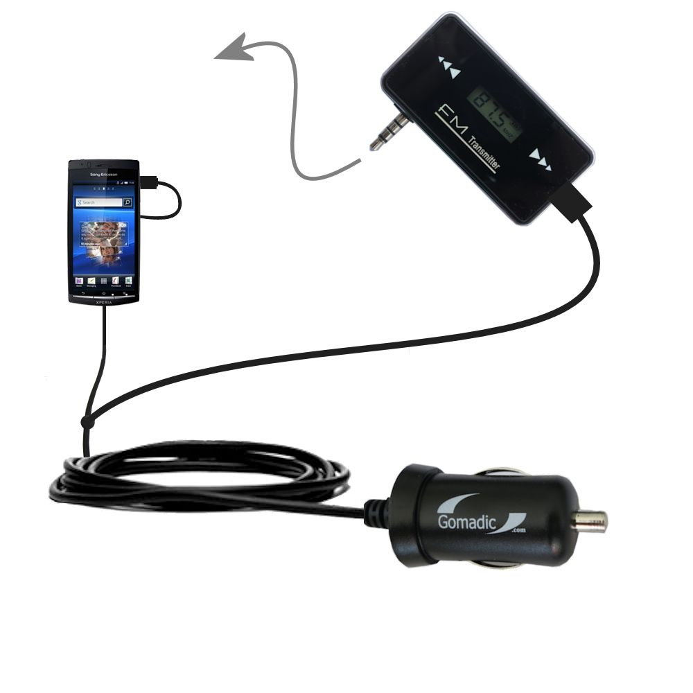 3rd Generation Powerful Audio FM Transmitter with Car Charger suitable for the Sony Ericsson LT15i - Uses Gomadic TipExchange Technology