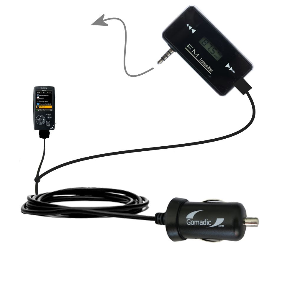 FM Transmitter Plus Car Charger compatible with the Sony Walkman NWZ-A805