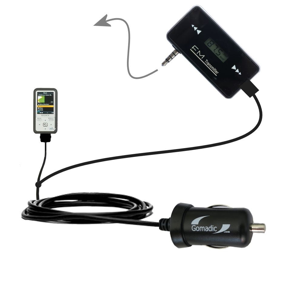 FM Transmitter Plus Car Charger compatible with the Sony Walkman NWZ-S616
