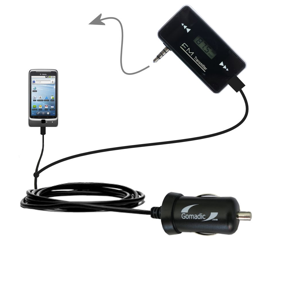 3rd Generation Powerful Audio FM Transmitter with Car Charger suitable for the T-Mobile G2 - Uses Gomadic TipExchange Technology