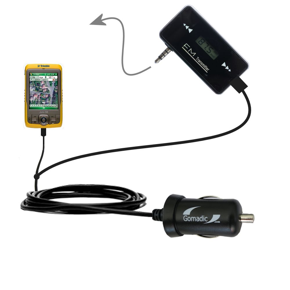 3rd Generation Powerful Audio FM Transmitter with Car Charger suitable for the Trimble Juno SB - Uses Gomadic TipExchange Technology