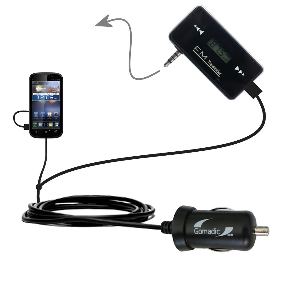 FM Transmitter Plus Car Charger compatible with the ZTE Awe