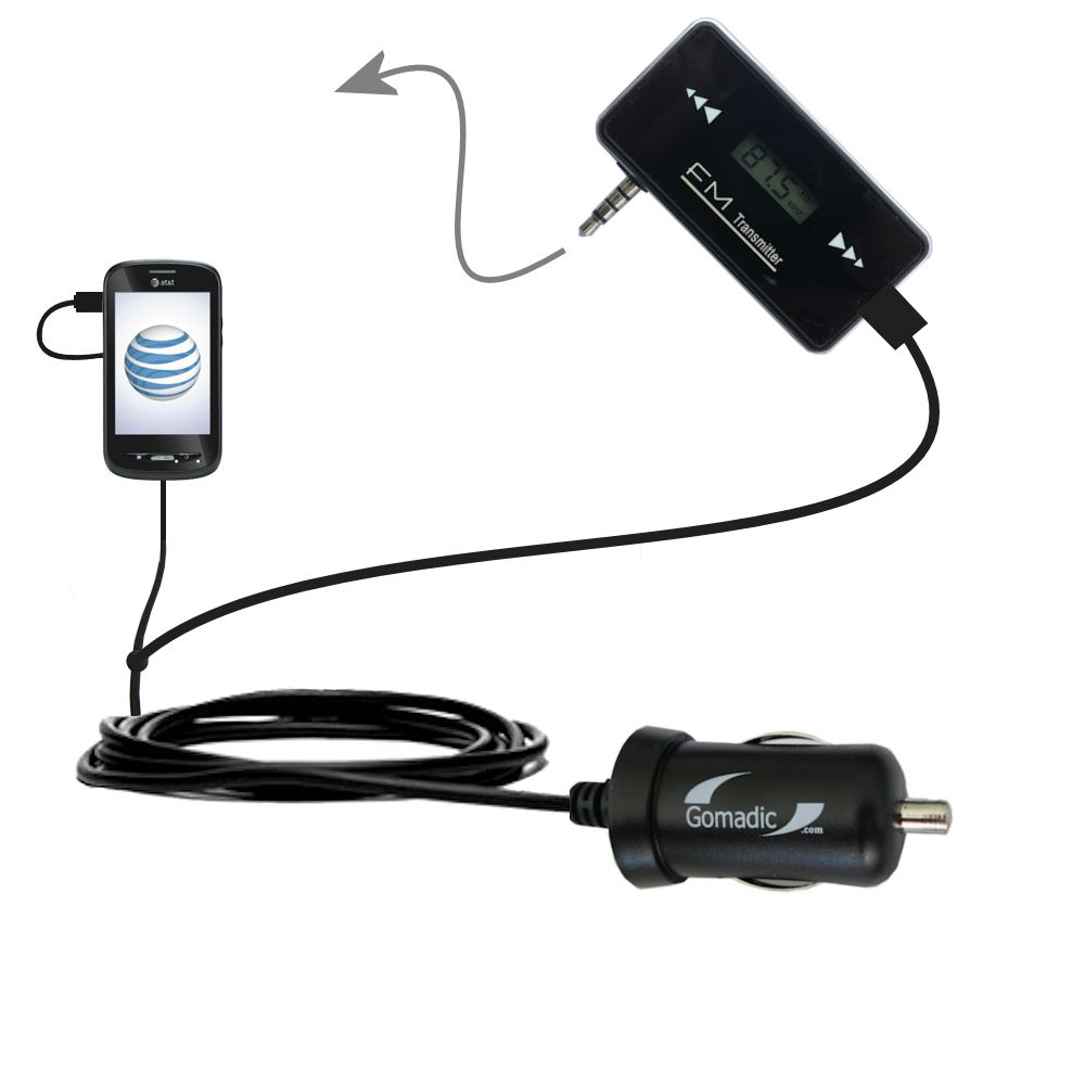 3rd Generation Powerful Audio FM Transmitter with Car Charger suitable for the ZTE Merit Z990G - Uses Gomadic TipExchange Technology