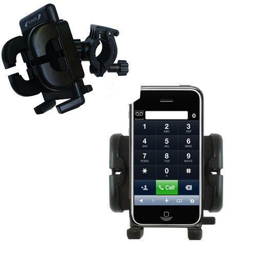 Gomadic Bike Handlebar Holder Mount System suitable for the Apple iPhone - Unique Holder; Lifetime Warranty