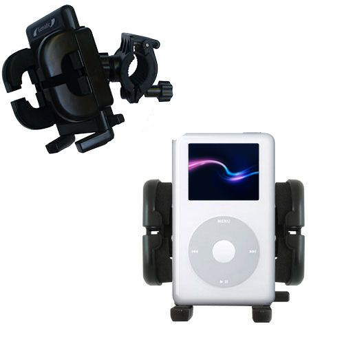 Gomadic Bike Handlebar Holder Mount System suitable for the Apple iPod 4G (20GB) - Unique Holder; Lifetime Warranty