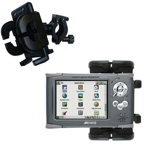 Gomadic Bike Handlebar Holder Mount System suitable for the Archos PMA 400 - Unique Holder; Lifetime Warranty