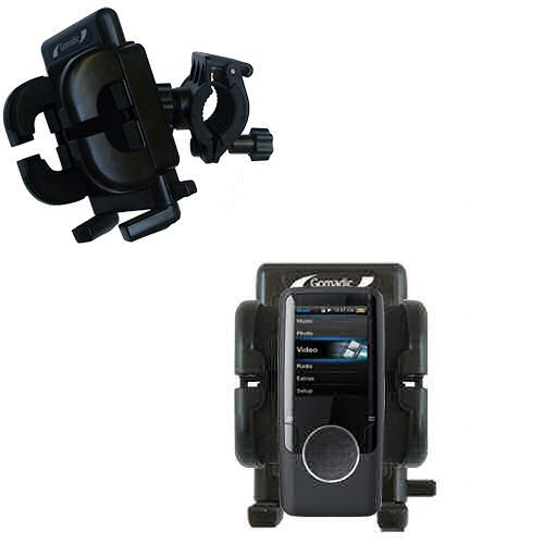 Gomadic Bike Handlebar Holder Mount System suitable for the Coby MP620 Video MP3 Player - Unique Holder; Lifetime Warranty