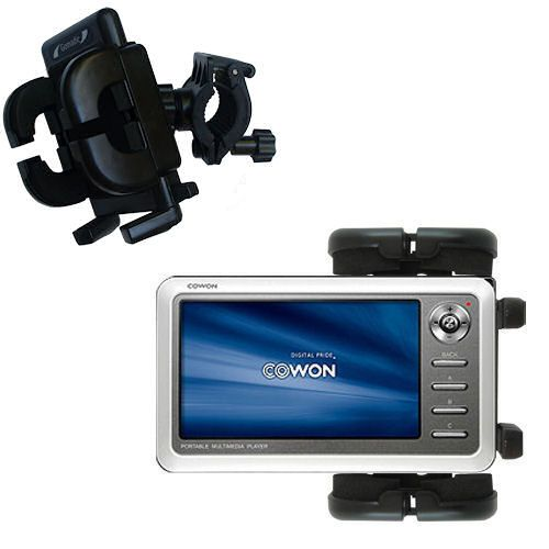 Gomadic Bike Handlebar Holder Mount System suitable for the Cowon iAudio A2 Portable Media Player - Unique Holder; Lifetime Warranty
