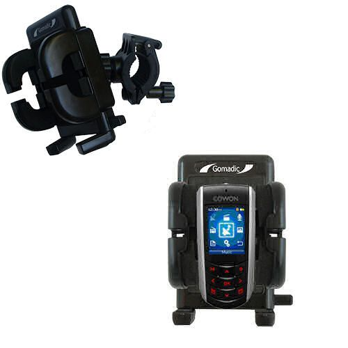 Gomadic Bike Handlebar Holder Mount System suitable for the Cowon iAudio F2 - Unique Holder; Lifetime Warranty