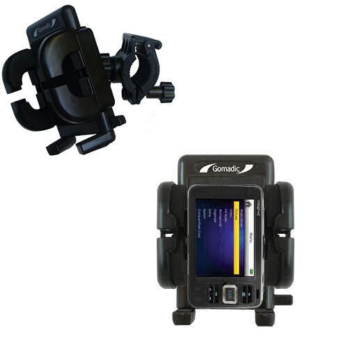 Gomadic Bike Handlebar Holder Mount System suitable for the Creative Zen V Plus - Unique Holder; Lifetime Warranty